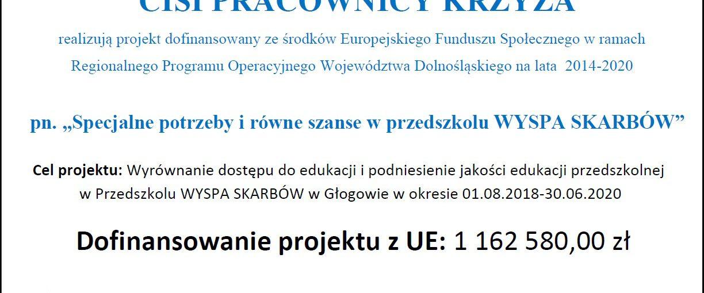 """Realizacja projektu """"Specjalne potrzeby i równe szanse w przedszkolu WYSPA SKARBÓW"""""""
